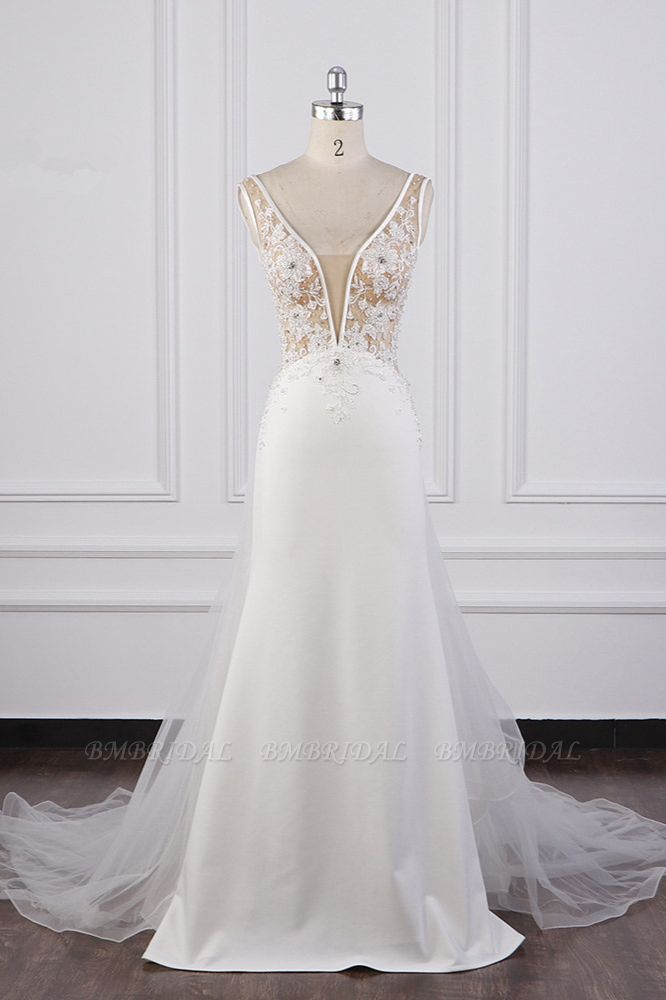 BMbridal Chic Sheath White Satin V-neck Wedding Dress Tulle Lace Appliques Bridal Gowns Online