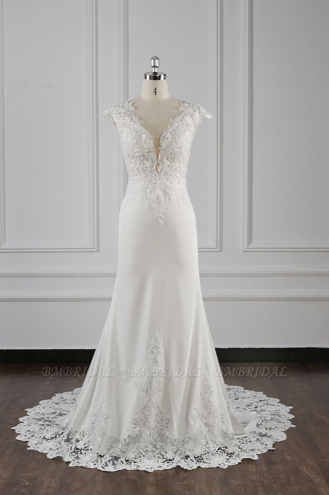 Elegant V-neck Chiffon Lace Wedding Dress Beadings Appliques Mermaid Bridal Gowns Online