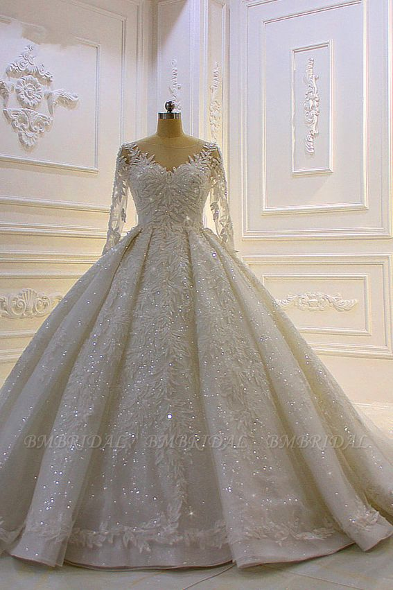 BMbridal Luxury Ball Gown Lace Appliques Beading Wedding Dress Long Sleeves Ruffles Bridal Gowns On Sale