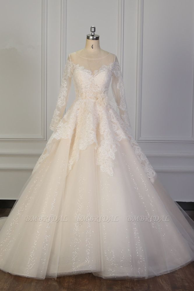 BMbridal Exquisite Lace Appliques Wedding Dress Tulle Long Sleeves Sequined Bridal Gown On Sale