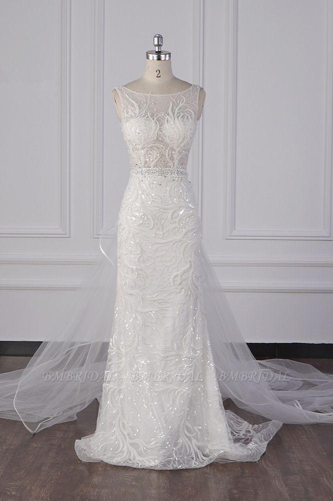 BMbridal Glamorous Jewel Beadings Sheath Wedding Dress Tulle Beadings Appliques Bridal Gowns On Sale