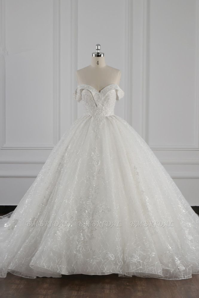 Luxury Ball Gown Off-the-Shoulder Tulle Lace Wedding Dress Appliques Sleeveless Bridal Gowns On Sale