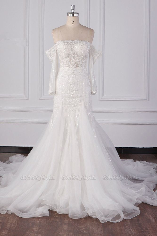 Gorgeous Strapless White Tulle Lace Wedding Dress Long Sleeves Beadings Bridal Gowns On Sale