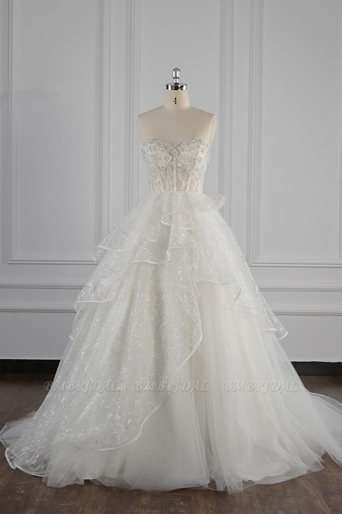 BMbridal Glamorous Ball Gown Strapless Beadings Wedding Dress Sequined Layers Tulle Bridal Gowns On Sale