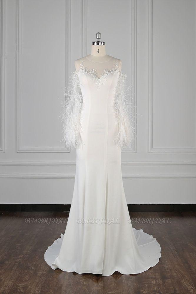Chic Jewel Sleeveless White Chiffon Wedding Dress Mermaid Appliques Bridal Gowns with Fur Onsale