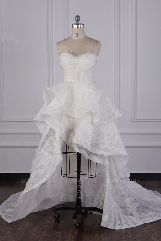 BMbridal Chic Hi-Lo Strapless Tulle Wedding Dress Appliques Sleeveless Bridal Gowns Online