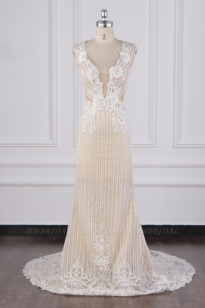 BMbridal Sexy V-Neck Lace Appliques Wedding Dress Sleeveless Beadings Backless Bridal Gowns On Sale