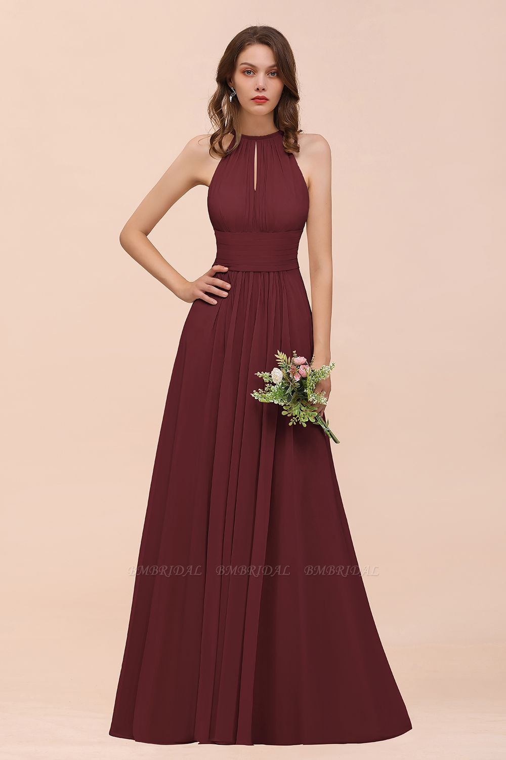 BMbridal Elegant Chiffon Jewel Ruffle Champagne Affordable Bridesmaid Dress Online