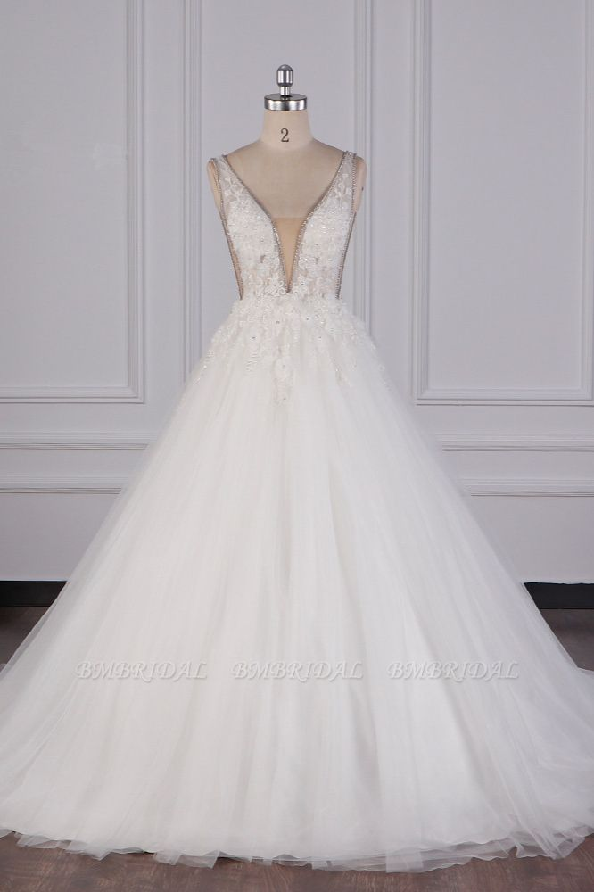 BMbridal Sexy Deep-V-Neck Ball Gown Wedding Dress Sleeveless Appliques Beadings Bridal Gowns On Sale