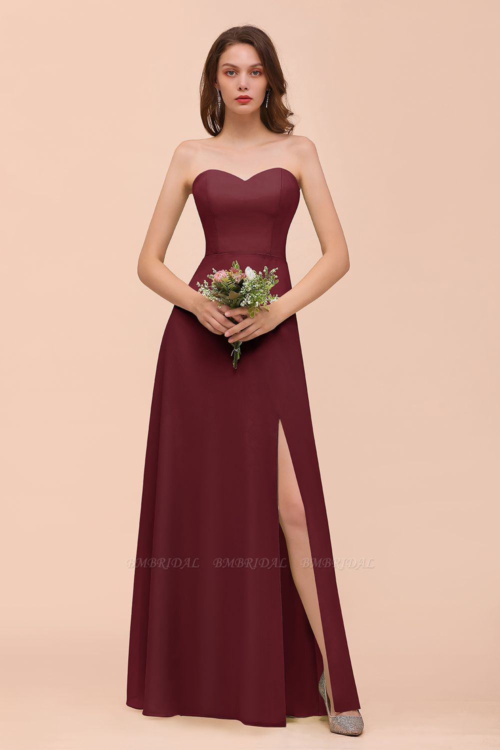 BMbridal Affordable Strapless Front Slit Long Dusty Sage Bridesmaid Dress