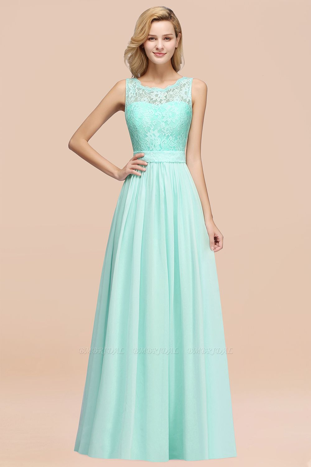Elegant Chiffon Lace Scalloped Sleeveless Ruffle Bridesmaid Dresses