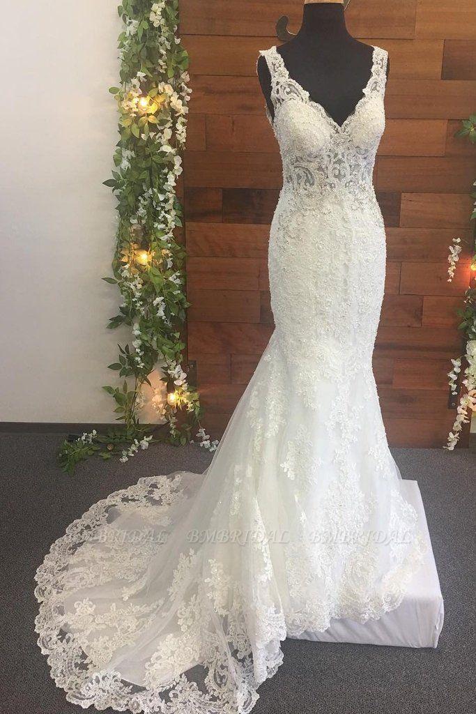 BMbridal Elegant Straps V-Neck Tulle Wedding Dress Mermaid Appliques Sleeveless Beadings Bridal Gowns Online
