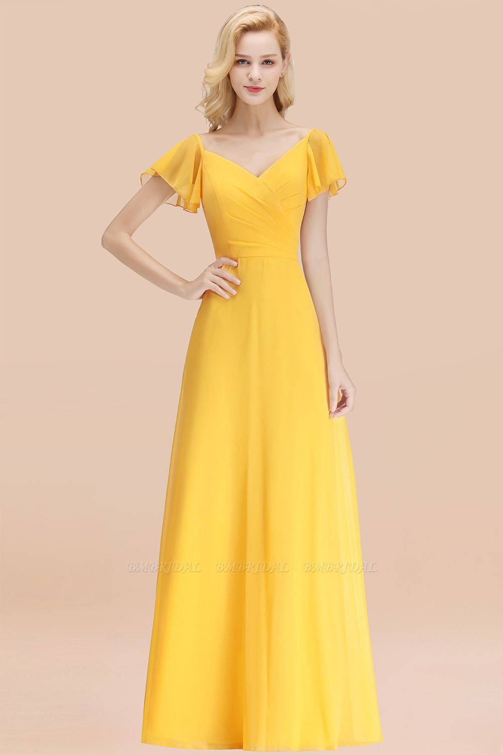 Elegent Short-Sleeve Long Bridesmaid Dress Online Yellow Chiffon Wedding Party Dress