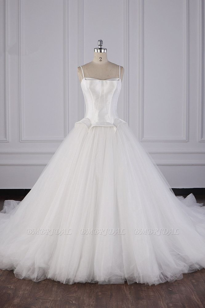 BMbridal Simple Spaghetti Straps Satin Wedding Dress Tulle Ruffles Sleeveless Bridal Gowns Onlien