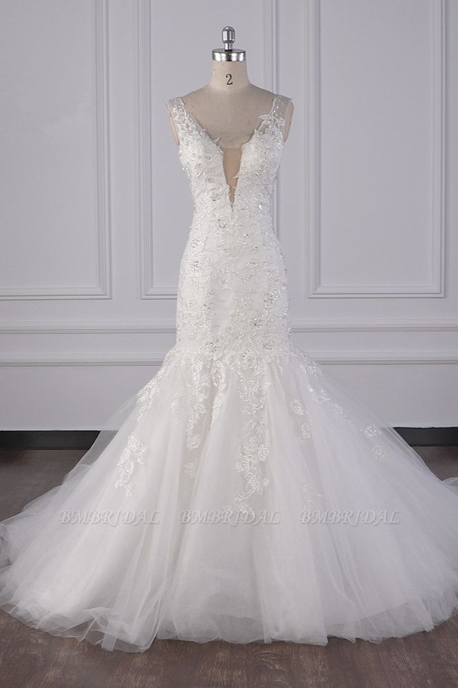 Gorgeous V-Neck Mermaid Lace Appliques Wedding Dress Sequined Sleeveless Bridal Gowns Online
