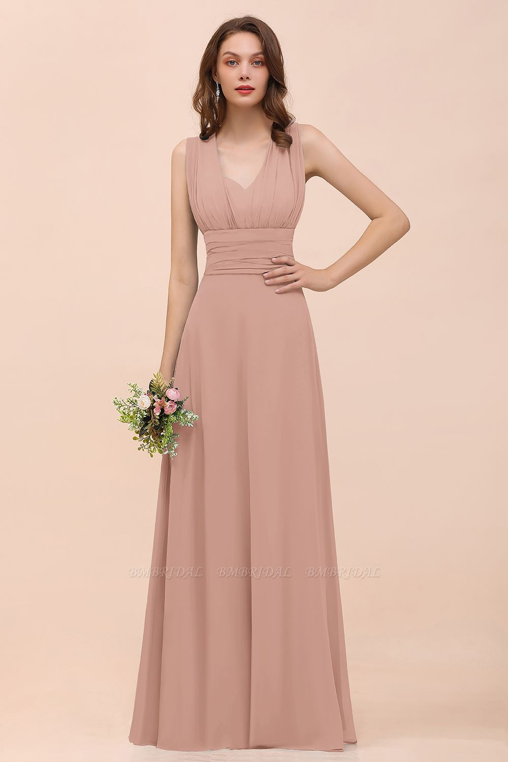 BMbridal New Arrival Dusty Blue Ruched Long Convertible Bridesmaid Dresses