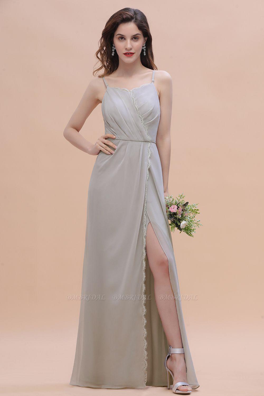BMbridal Chic Spaghetti Straps Chiffon Lace A-Line Bridesmaid Dress On Sale
