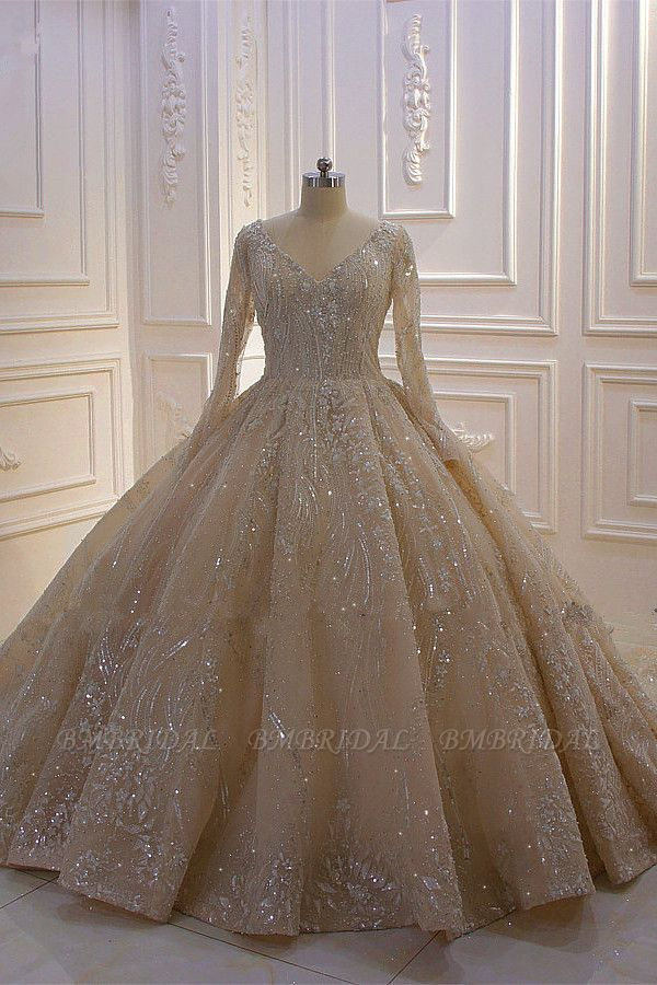 BMbridal Gorgeous Ball Gown V-neck Wedding Dress Long Sleeves Applqiues Sequined Bridal Gowns Online