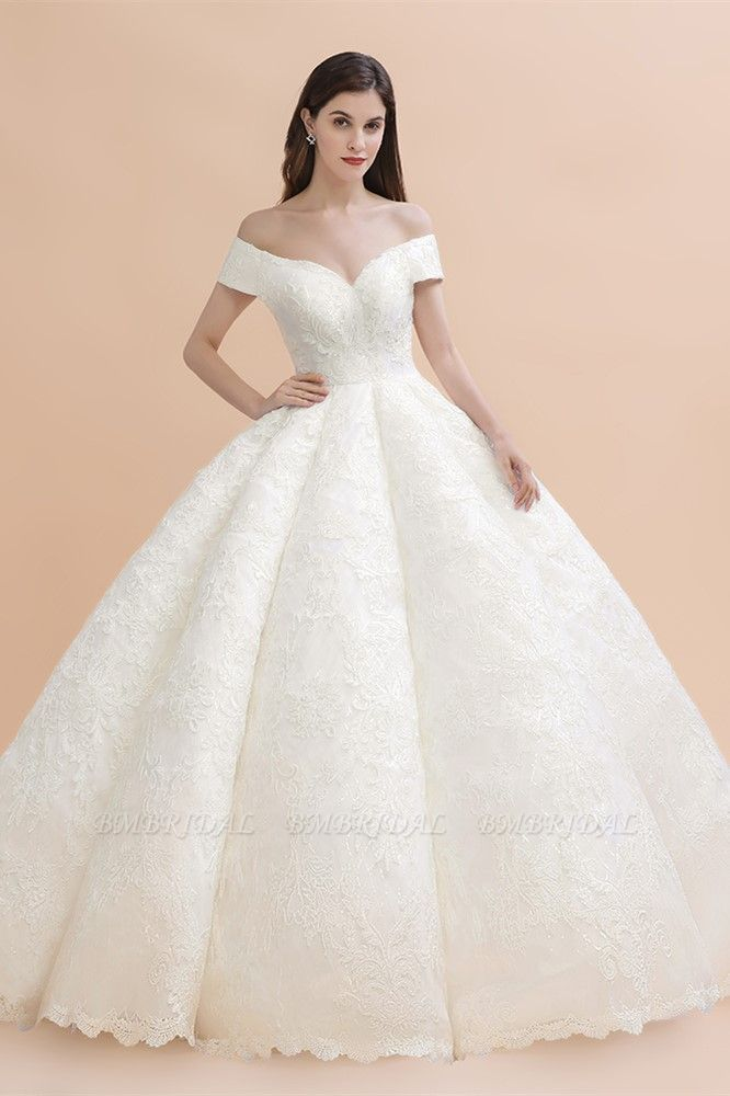 BMbridal Luxury Ball Gown Off-the-Shoulder Sweetheart Wedding Dress Sleeveless Lace Satin Bridal Gowns On Sale