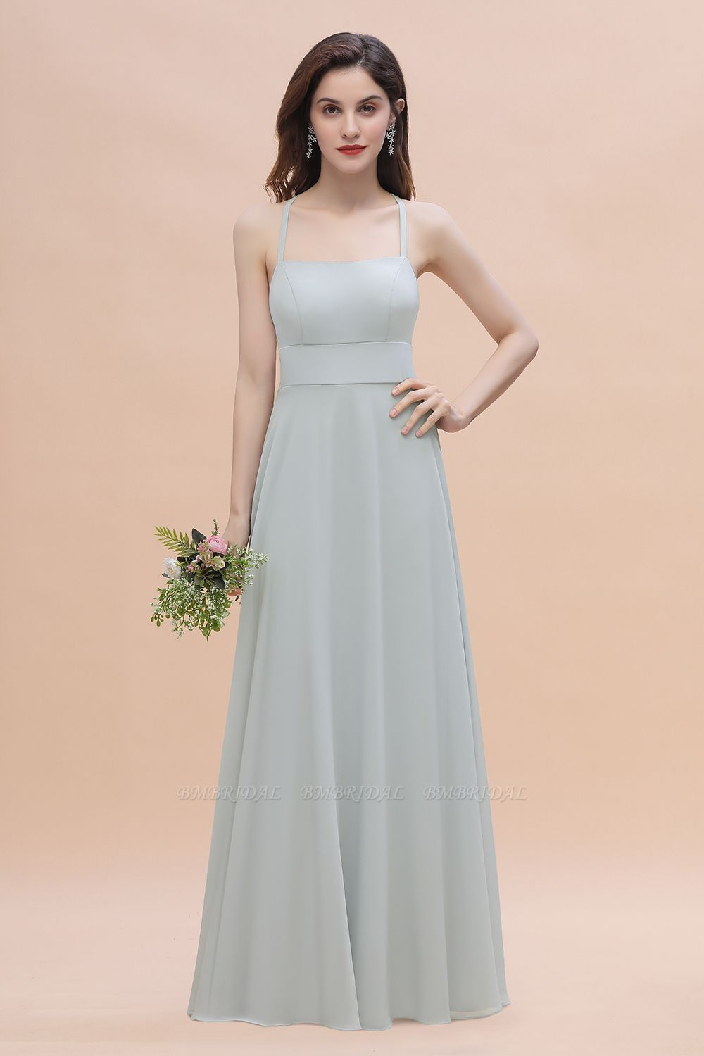 Simple Straps A-line Chiffon Mist Bridesmaid Dress with Ruffles Online