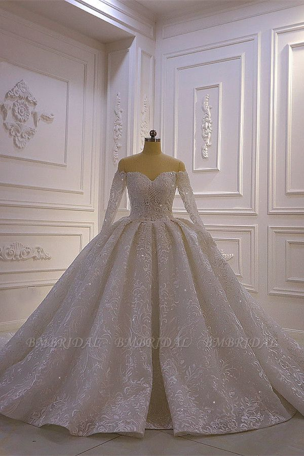 BMbridal Luxury Ball Gown Long Sleeves Wedding Dress Tulle Lace Sweetheart Beadings Bridal Gowns On Sale