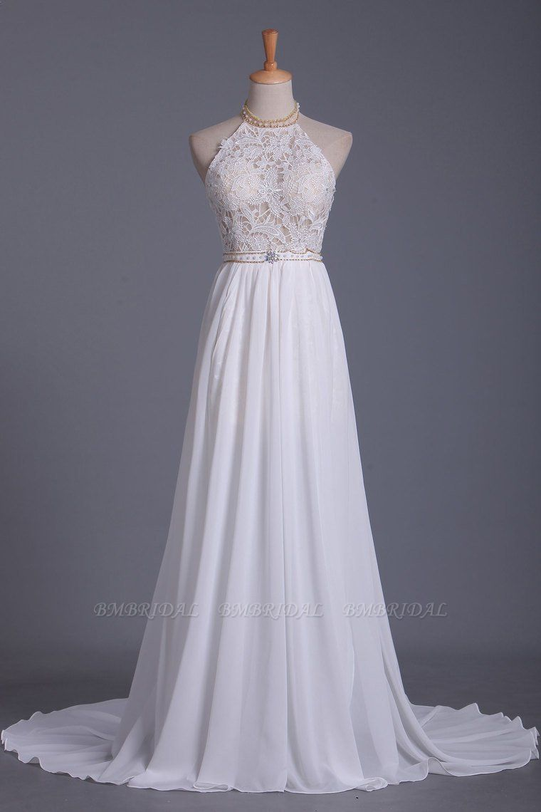 Boho Halter Chiffon Lace Wedding Dress Beadings Appliques Sleeveless Ruffles Bridal Gowns On Sale