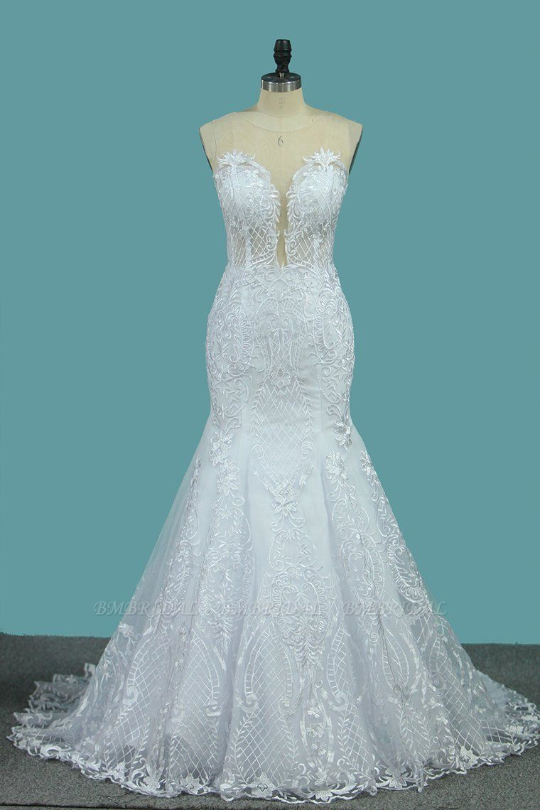 BMbridal stylish Jewel Sleeveless White Tulle Wedding Dress Mermaid Appliques Bridal Gowns with Wraps Online