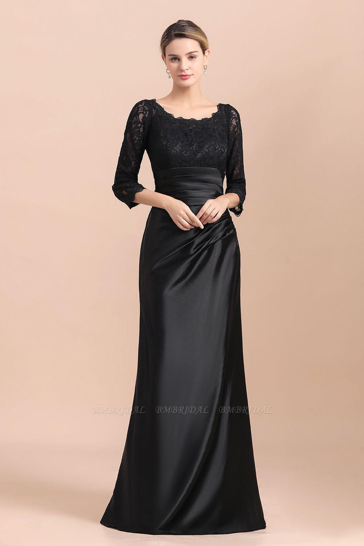 BMbridal Elegant Jewel 3/4 Sleeves Black Satin Lace Ruffles Mother of Bride Dress On Sale