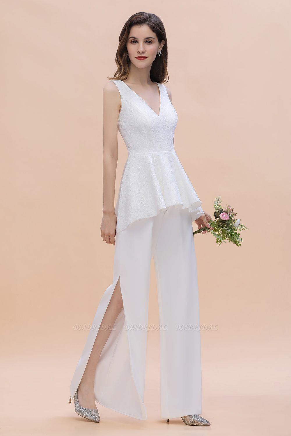 BMbridal Fashion V-Neck Lace Side Slit Bridesmaid Jumpsuits with Hollowout On Sale