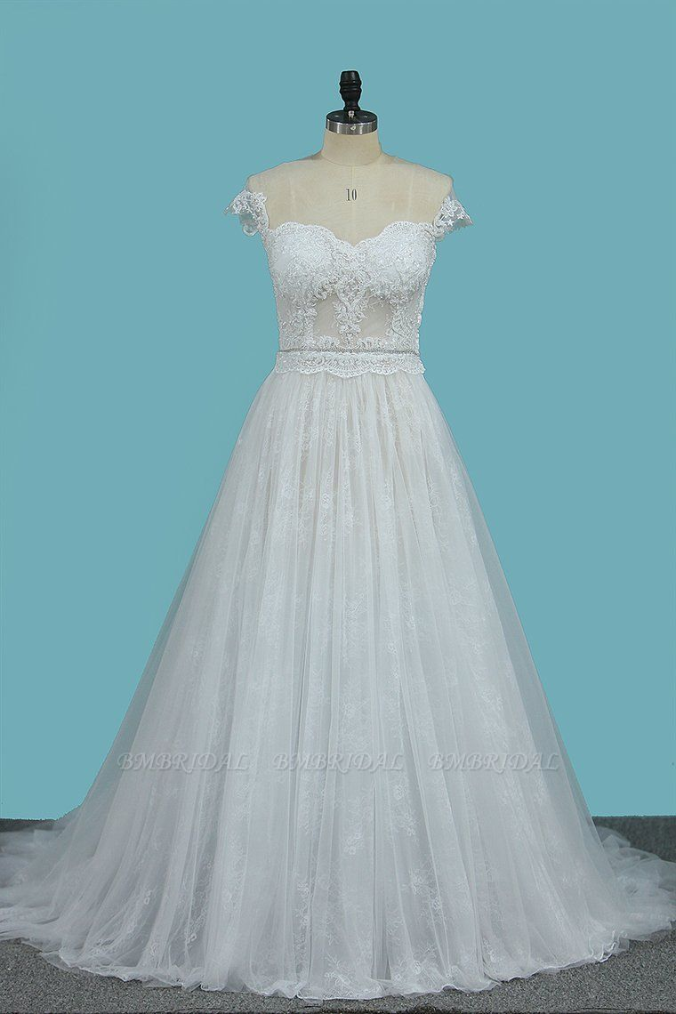 BMbridal Chic Jewel Sleeveless Tulle Wedding Dress Lace Appliques Ruffles Bridal Gowns On Sale