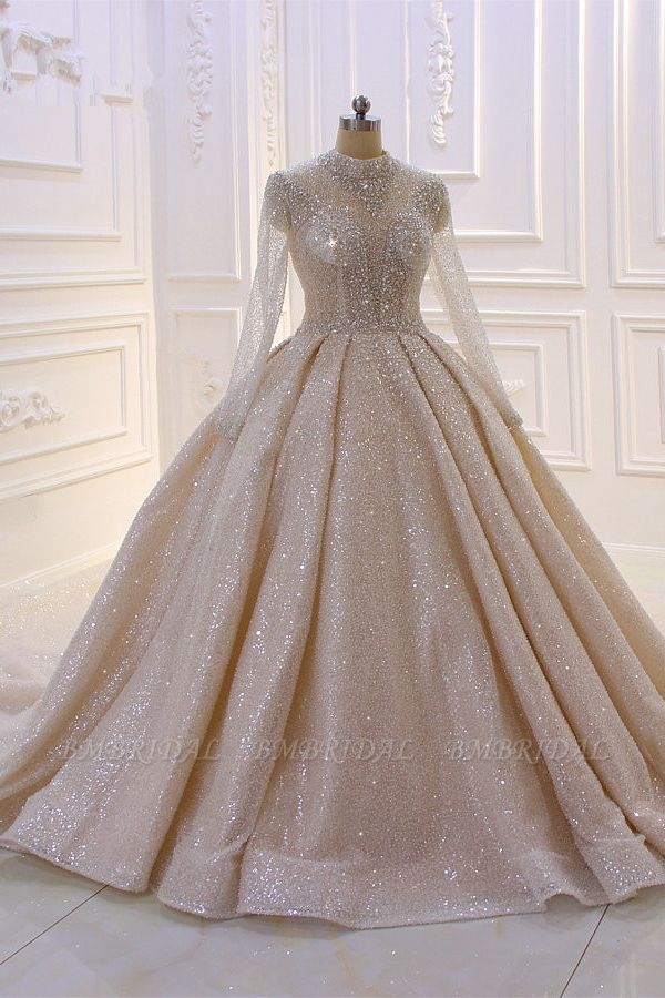 BMbridal Glamorous Ball Gown High Neck Wedding Dress Long Sleeves Sparkly Sequined Beading Bridal Gowns On Sale