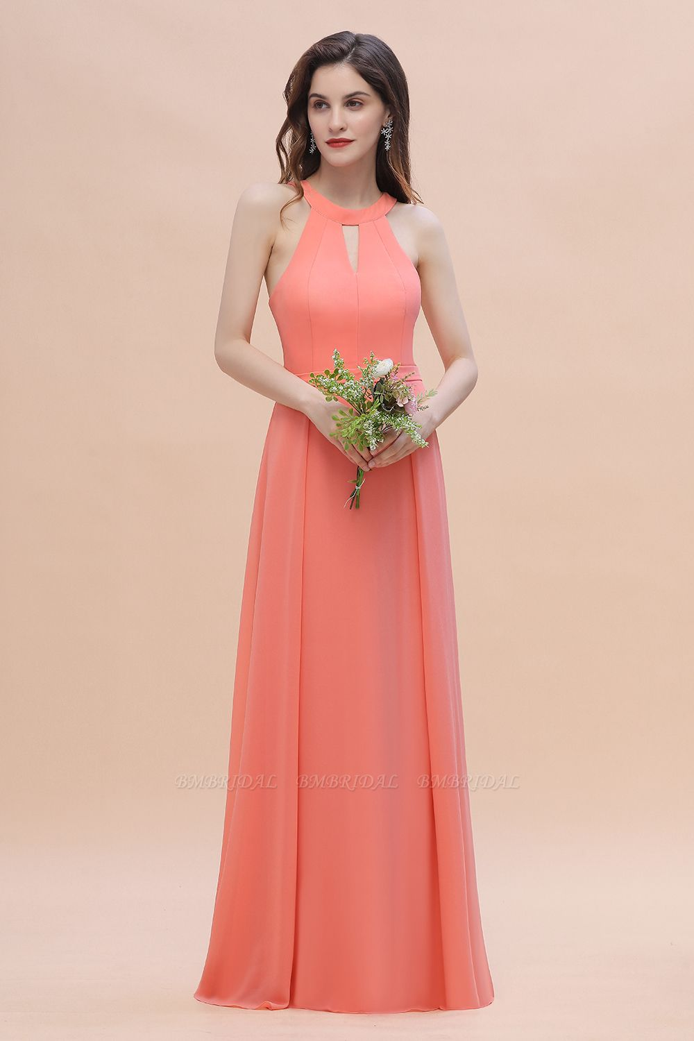 BMbridal Simple Jewel Sleeveless Coral Chiffon Bridesmaid Dress Online