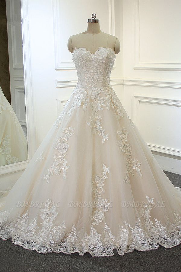 BMbridal Chic Strapless Tulle Lace Wedding Dress A-Line Sweetheart Appliques Sleeveless Bridal Gowns On Sale