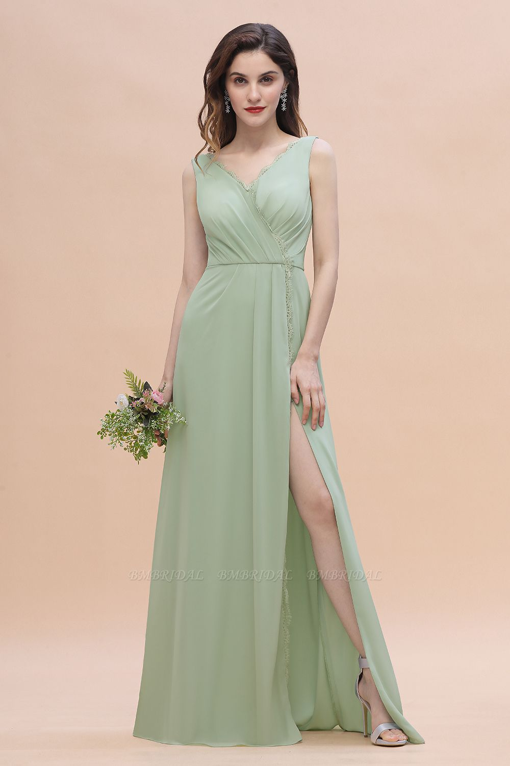 BMbridal Sexy Chiffon Ruffles Dusty Sage Bridesmaid Dress with Lace Edge On Sale