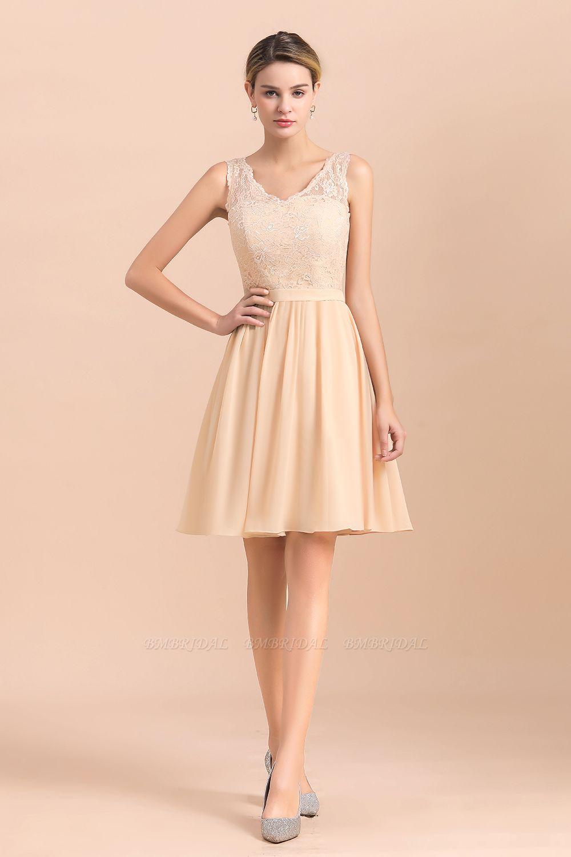 BMbridal Pretty V-Neck Chiffon Lace Short Bridesmaid Dress with Ruffles Online