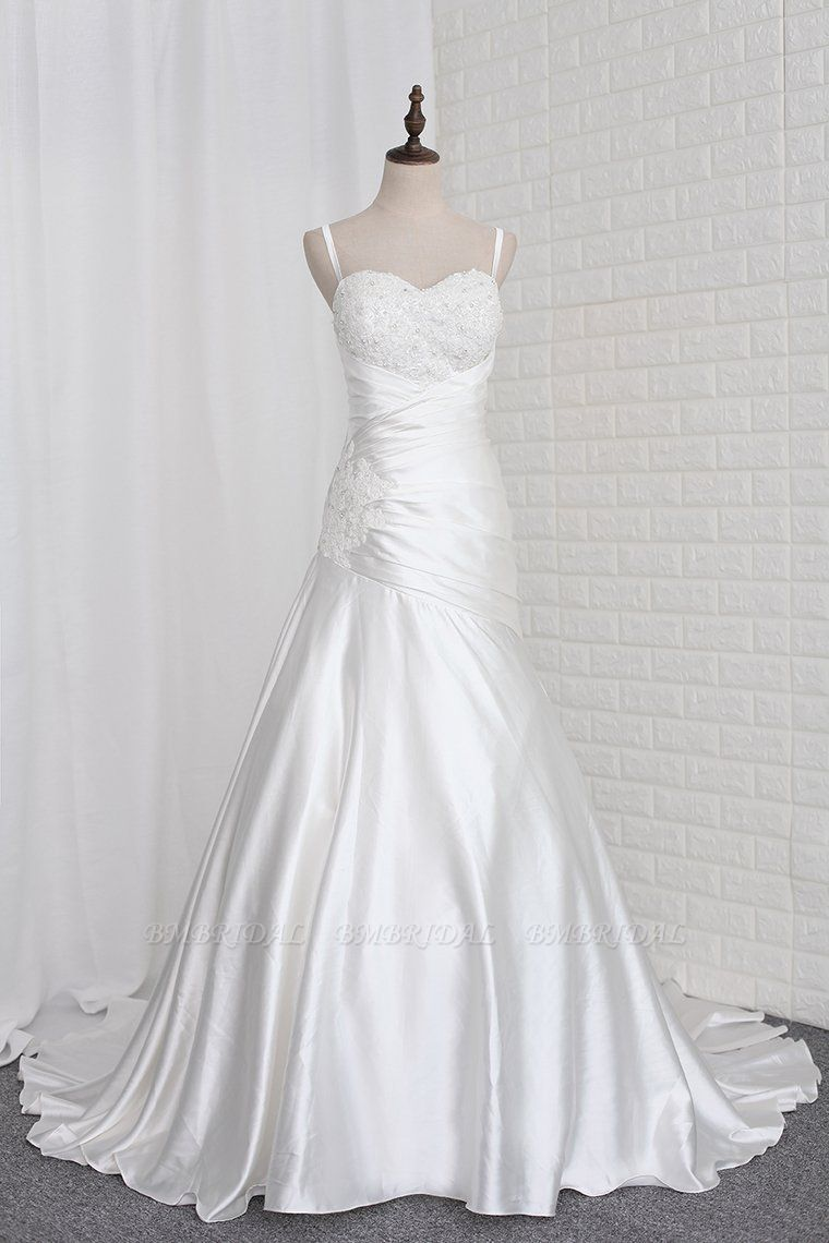 BMbridal Stylish Straps Sweetheart Wedding Dress White Satin Lace Appliques Beadings Bridal Gowns Online
