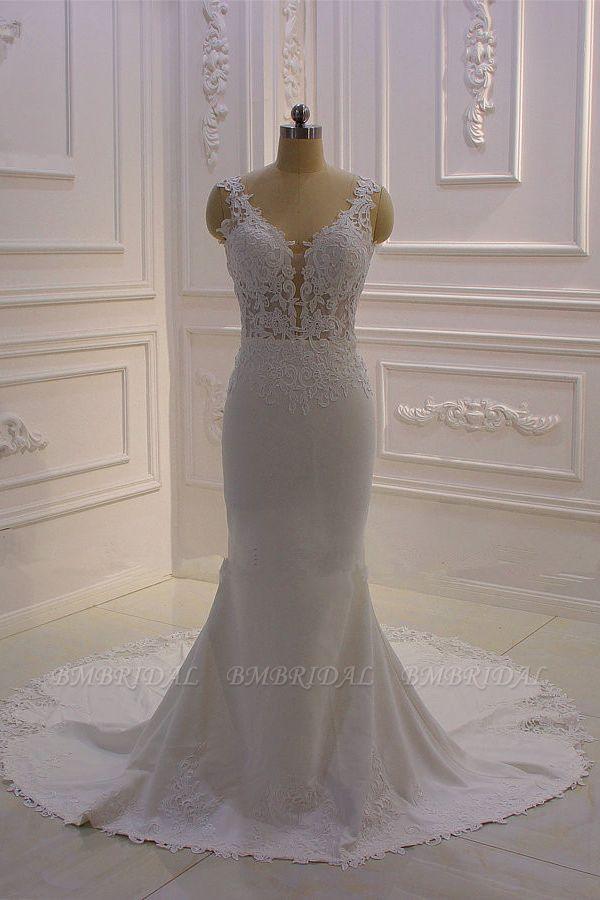 BMbridal Simple Mermaid Tulle Wedding Dress Straps Sleeveless V-Neck Bridal Gowns On Sale