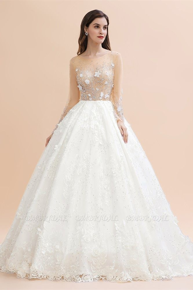 Luxury Ball Gown Tulle Lace Wedding Dress Long Sleeves Appliques Pearls Bridal Gowns with Flowers On Sale