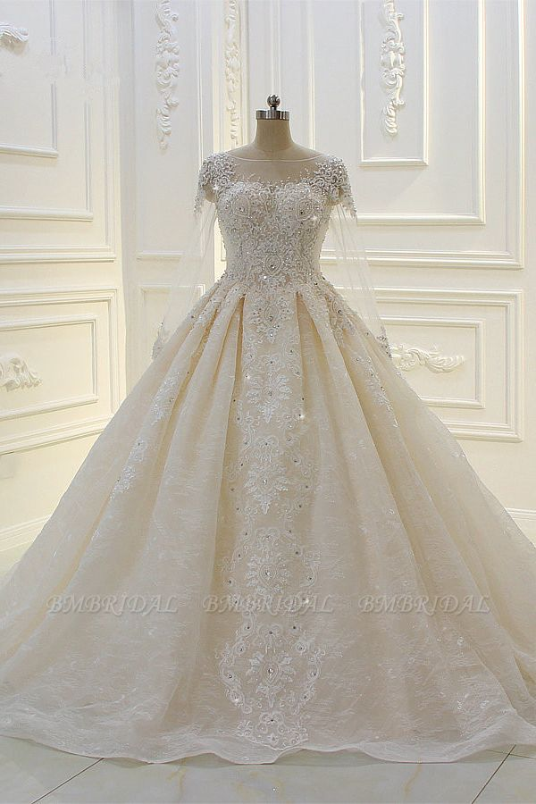 BMbridal Luxury Ball Gown Jewel Tulle Wedding  Dress Long Sleeves Lace Applqiues Beadings Bridal Gowns On Sale