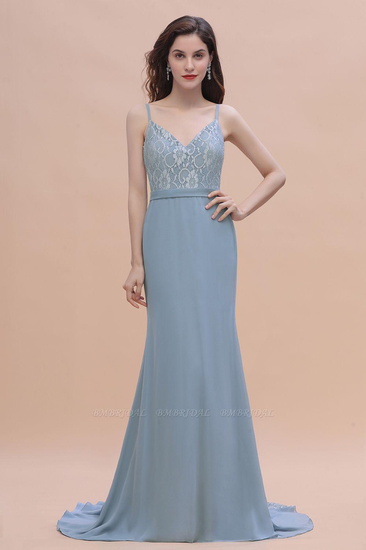 BMbridal Elegant Mermaid Chiffon Lace Dusty Blue Bridesmaid Dress with Spaghetti Straps On Sale