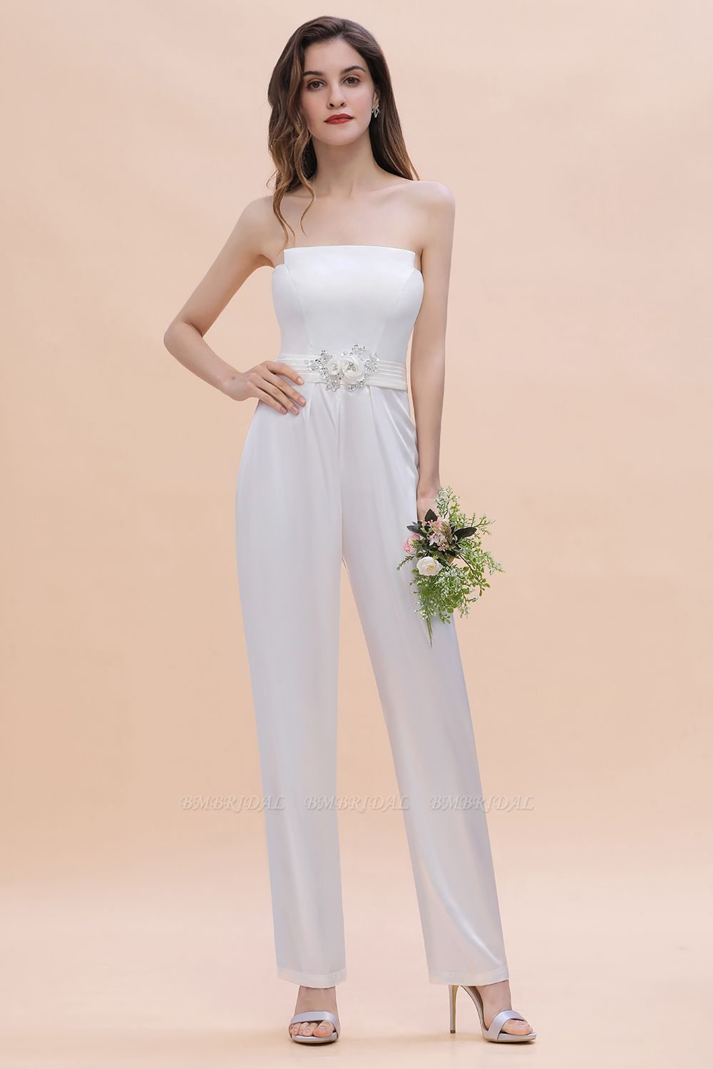 BMbridal Fashion Strapless Satin Sleeveless Bridesmaid Jumpsuit with Beading Flowers On Sale