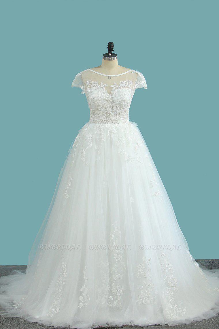 BMbridal Elegant Jewel Tulle Lace Wedding Dress Short Sleeves Appliques Ruffles Bridal Gowns Online