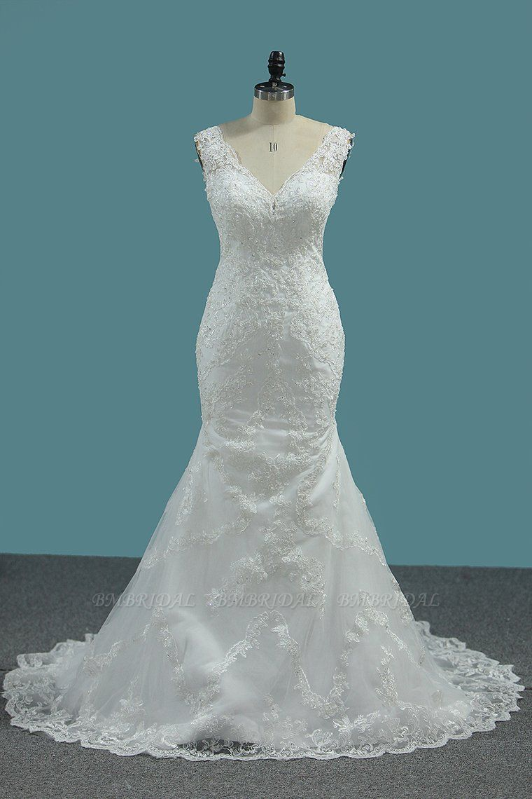Elegant Mermaid V-neck Tulle Wedding Dress White Lace Appliques Beadings Bridal Gowns Online