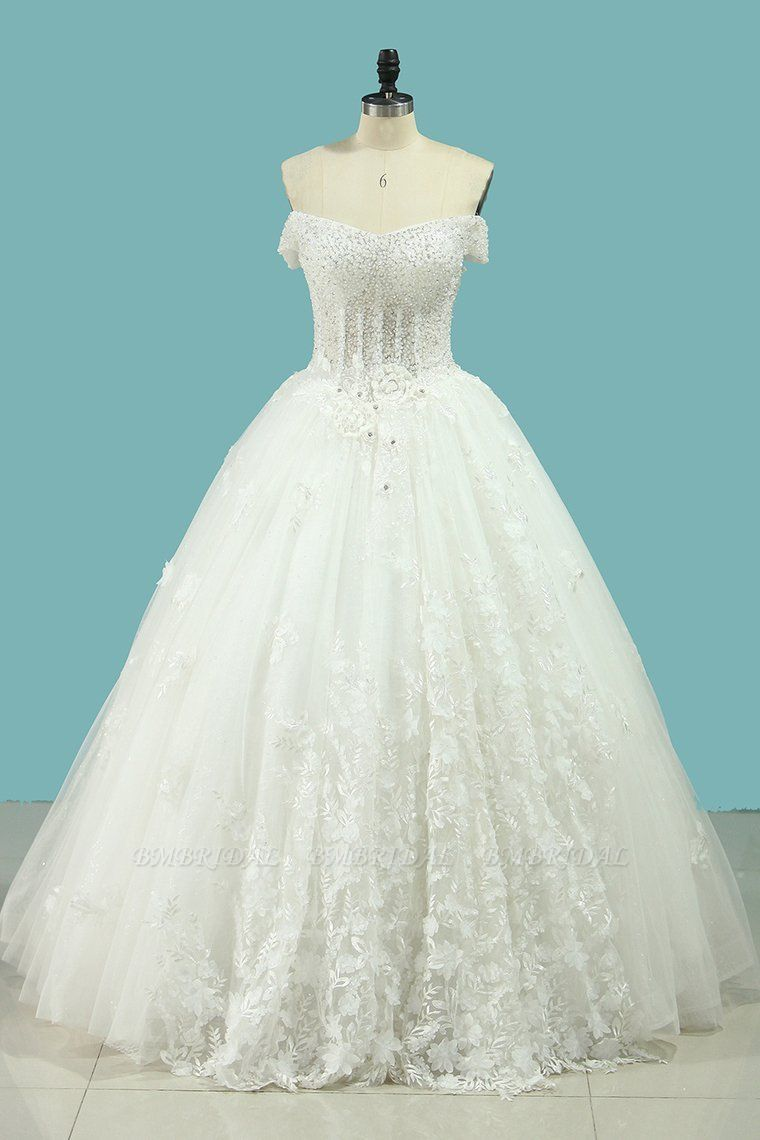BMbridal Chic Strapless Sweetheart Tulle Wedding Dress Sleeveless Lace Appliques Bridal Gowns On Sale