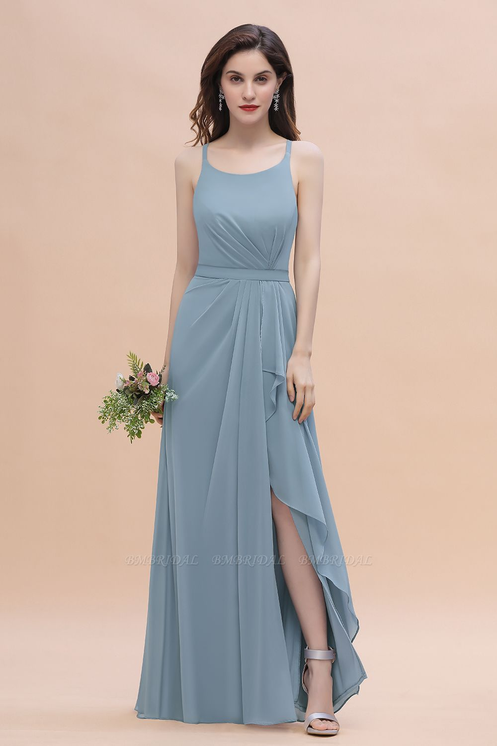 BMbridal Gorgeous A-Line Straps Dusty Blue Chiffon Bridesmaid Dress with Ruffles On Sale