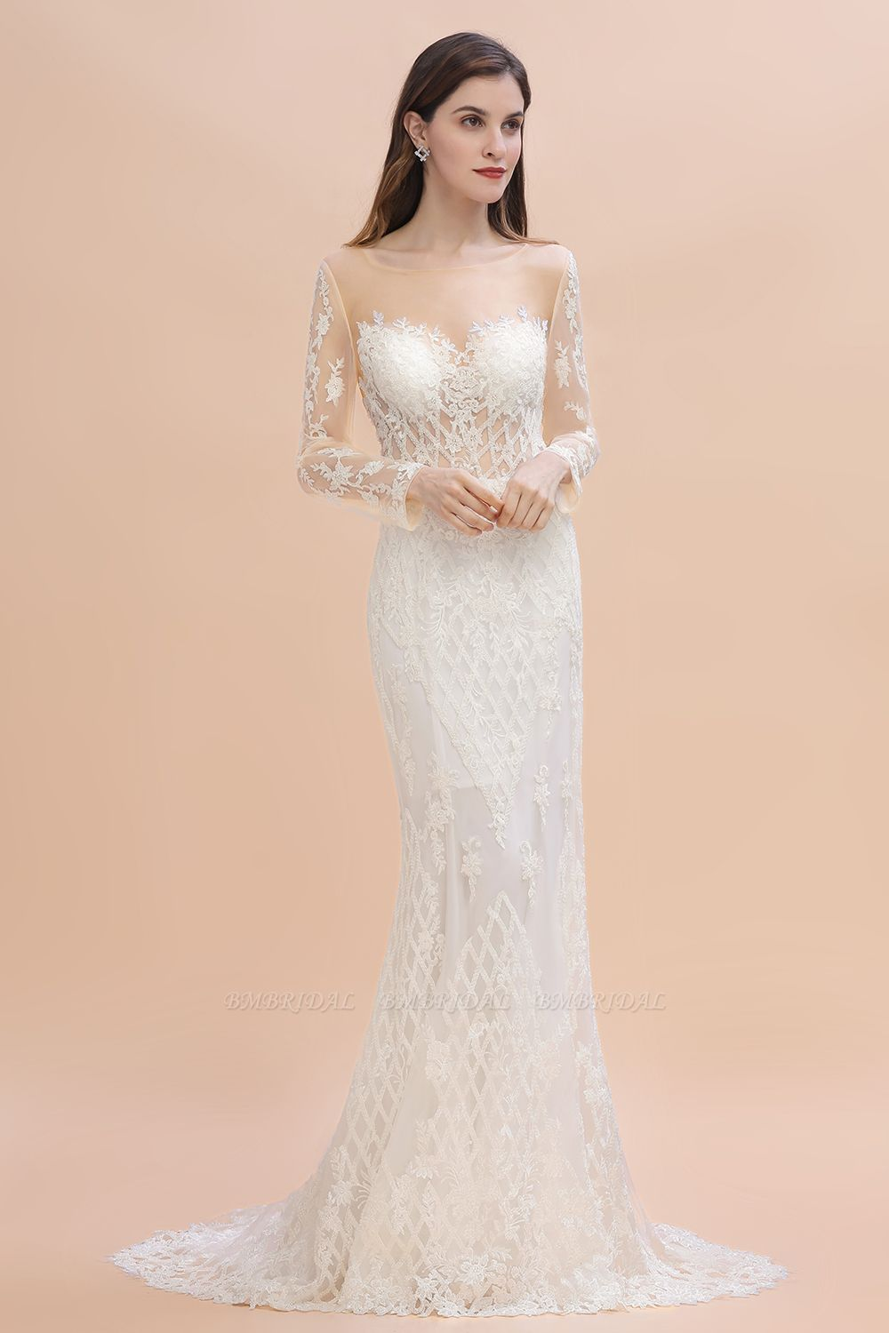 BMbridal Gorgeous Jewel Tulle Lace Wedding Dress Long Sleeves Appliques Mermaid Bridal Gowns On Sale