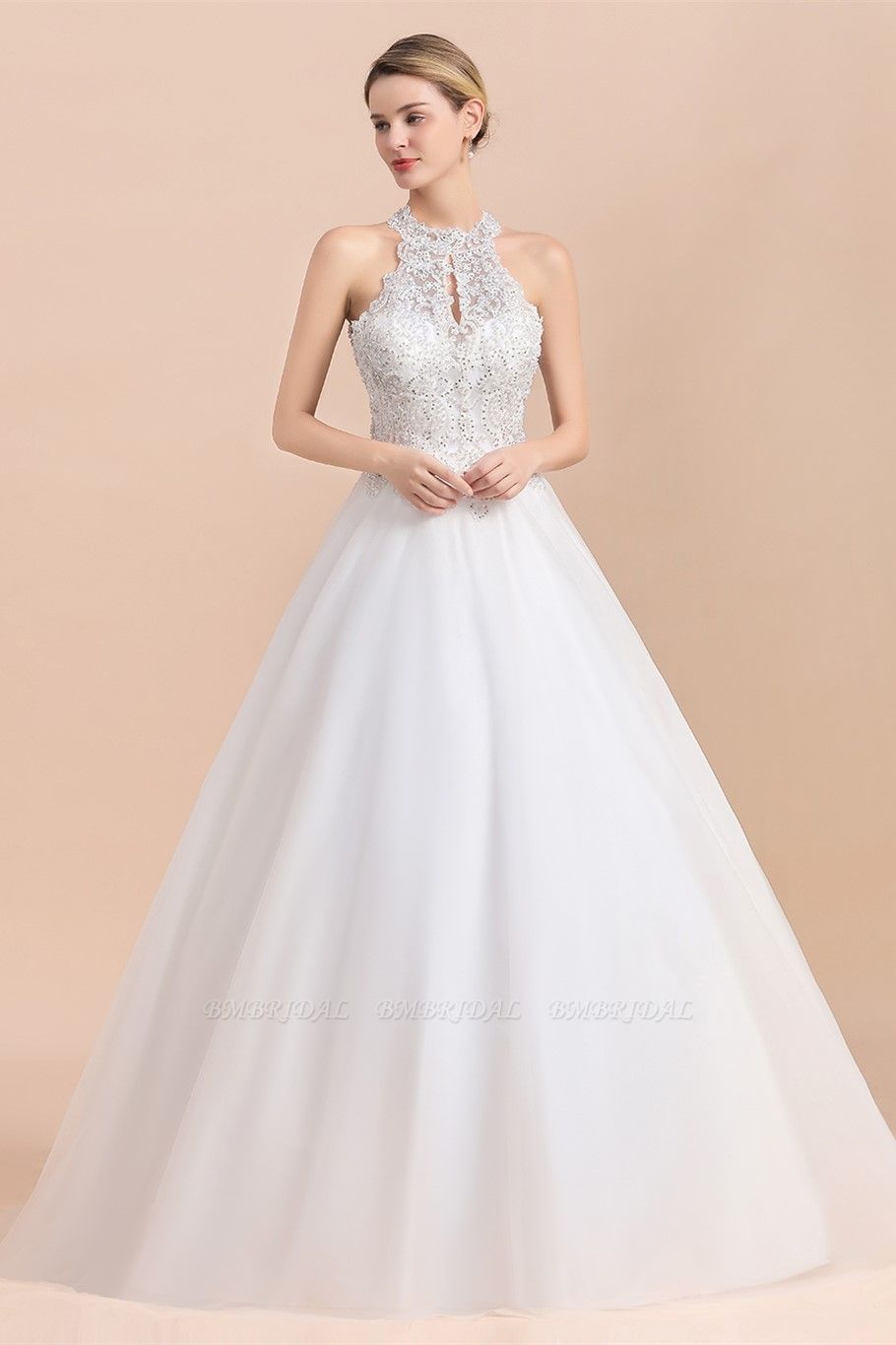 BMbridal Exquisite High-Neck Lace Wedding Dress Appliques Sequins Sleeveless Bridal Gowns On Sale