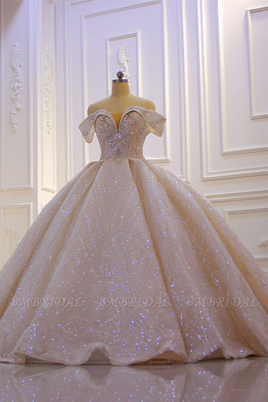 BMbridal Luxury Ball Gown Off-the-Shoulder Wedding Dress Tulle Sequined Beadings Sleeveless Bridal Gowns Online