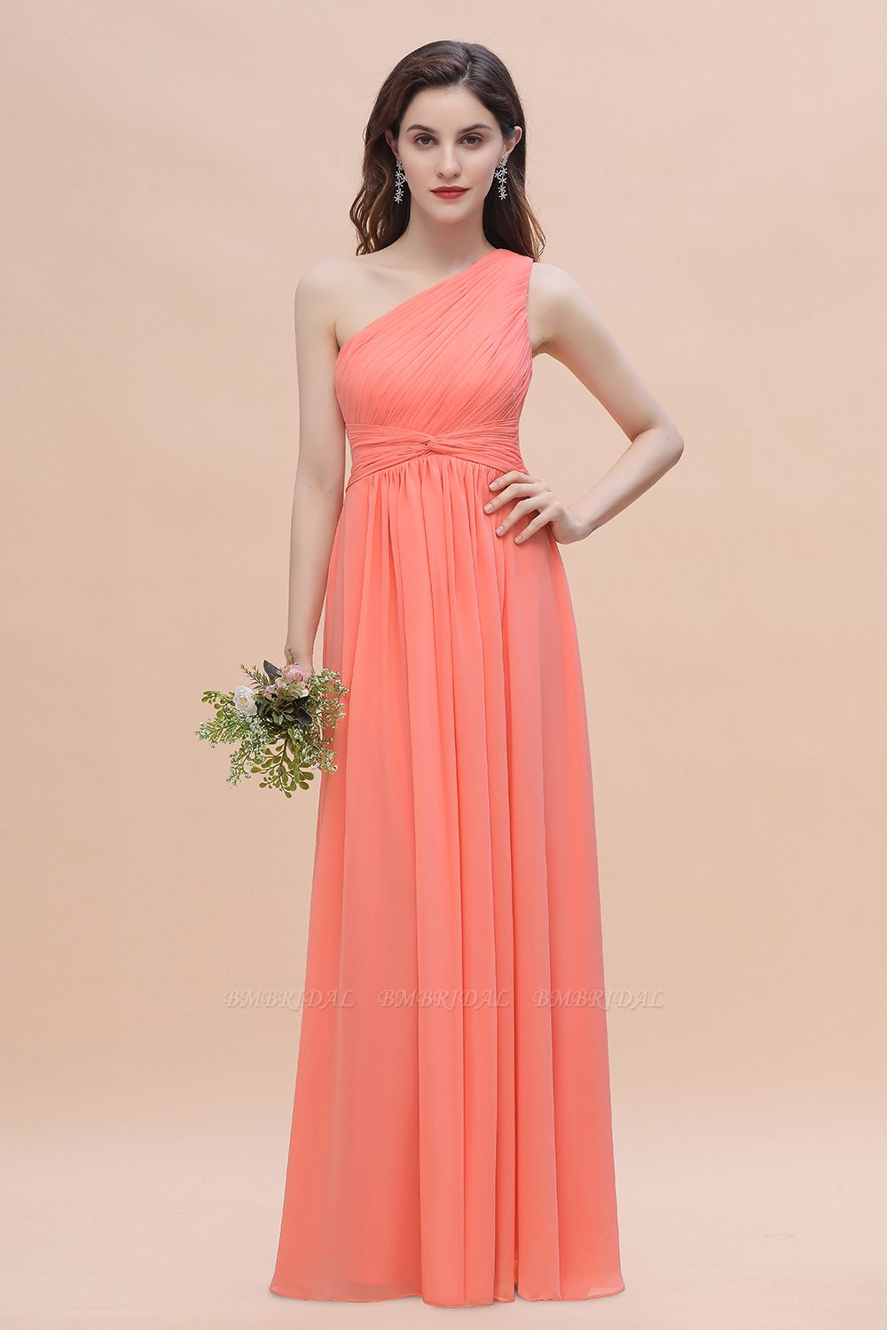 BMbridal Chic One-Shoulder Ruffles Chiffon Coral Bridesmaid Dresses On Sale