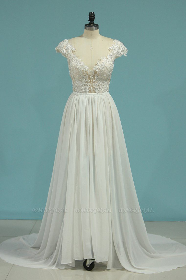 BMbridal Simple Chiffon Ruffles Lace Wedding Dress Appliques Cap Sleeves V-neck Beadings Bridal Gowns On Sale